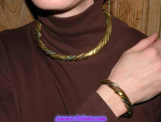 ensemble bracelet collier 3 metaux